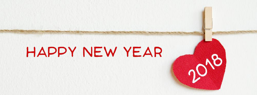 Happy new year 2018 love facebook cover red heart romantic